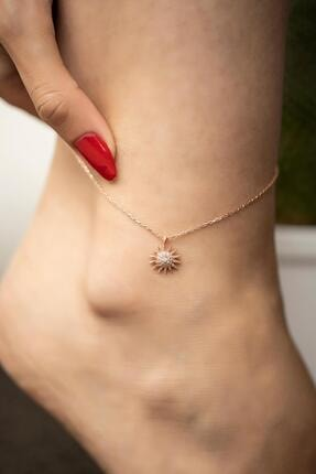 İzla Design Kadın Güneş Model Zirkon Taşlı Rose Kaplama Gümüş Halhal 0
