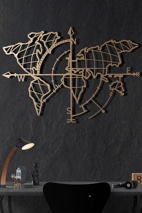 Bystag Metal Dünya Haritası Pusula Gold 0