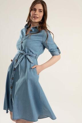 Y-London Kadın Kuşaklı Uzun Kollu Kot Gömlek Elbise Y20s110-1924 2