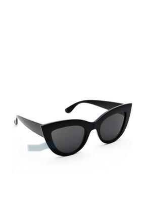 Nilu Moda Kalın Çerçeveli Tasarım Cat Eye Parlak Siyah Kadın Güneş Gözlüğü 2