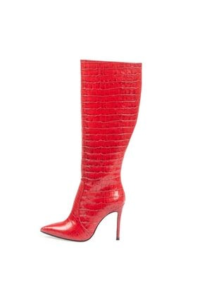 Kırmızı Kroko Deri Çizme resmi