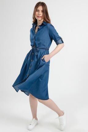 Y-London Kadın Kuşaklı Uzun Kollu Kot Gömlek Elbise Y20s110-1924 3
