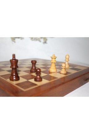 Gezginimport Satranç Oyunu Mıknatıs Taşlı Ahşap Katlanabilir Kutulu Satranç Oyunu 25 Cm 1
