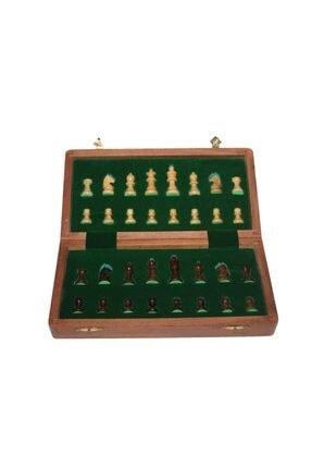 Gezginimport Satranç Oyunu Mıknatıs Taşlı Ahşap Katlanabilir Kutulu Satranç Oyunu 25 Cm 3