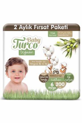Baby Turco Doğadan 6 Numara Xlarge 200 Adet Bebek Bezi 0