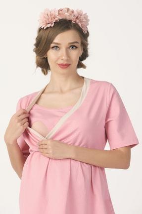 PrettyChic Kadın Pudra Pembe Hamile ve Lohusa Gizli Emzirme Özellikli Likralı Süprem Pijama Takımı 1