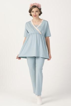 PrettyChic Hamile ve Lohusa Gizli Emzirme Özellikli Likralı Süprem Pijama Takımı 1