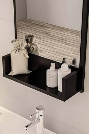 bluecape Siyah Raflı Antre Hol Koridor Duvar Salon Mutfak Yatak Odası Aynası  75cm 2