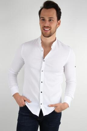 ALEXANDERGARDI Hakım Yaka Slim Fit Gömlek, Beyaz (E20-611100) 1