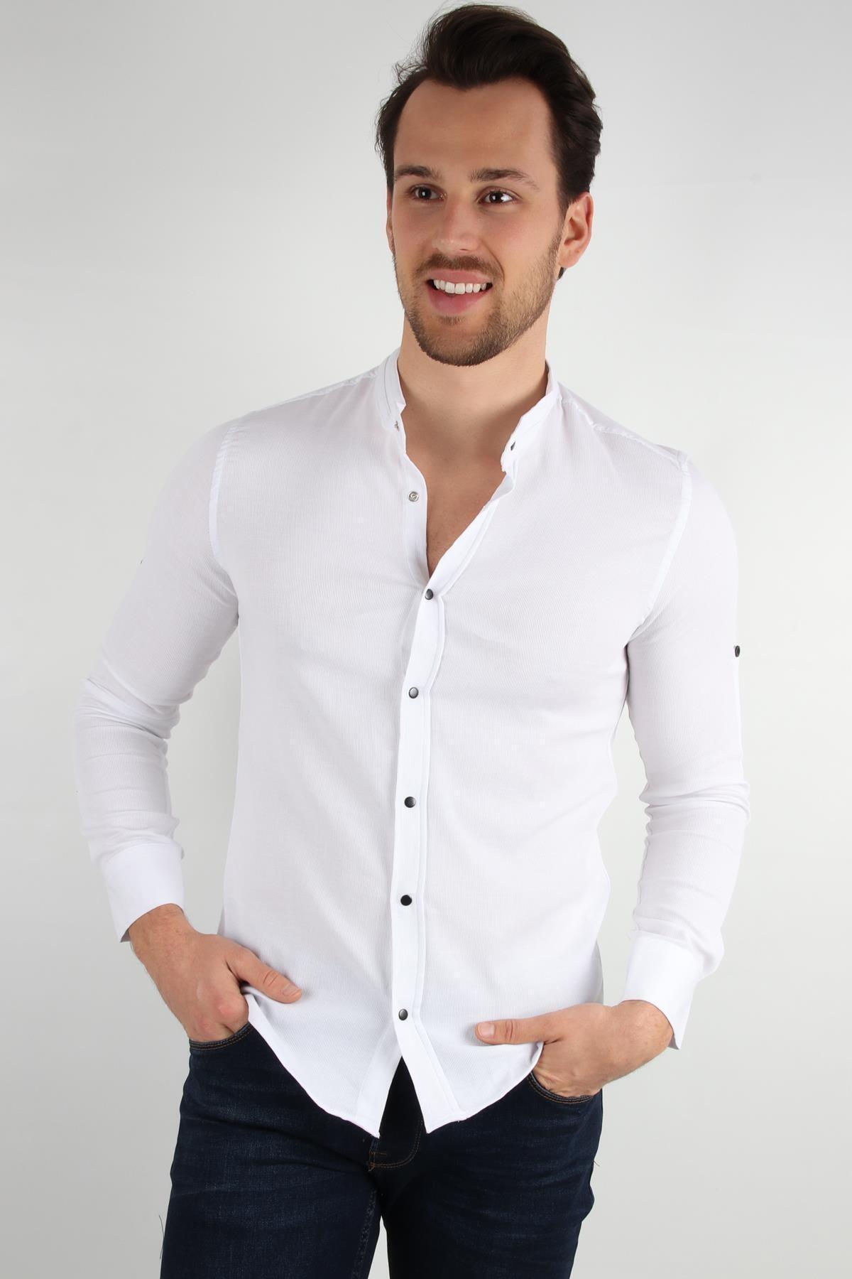 ALEXANDERGARDI Hakım Yaka Slim Fit Gömlek, Beyaz (E20-611100)