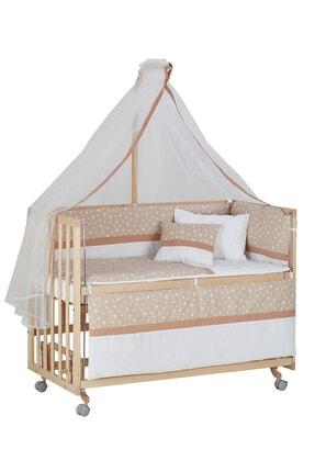 Babycom Anne Yanı Doğal Boyasız Ahşap Kademeli Beşik 70x130 - Tekerlekli + Kahve Yıldızlı Uyku Seti 3