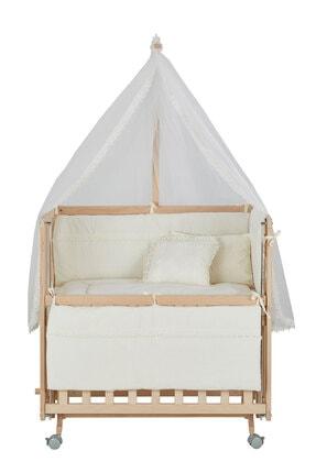 Babycom Anne Yanı Naturel Boyasız 50*90 Ahşap Beşik - Tekerlekli + Krem Uyku Seti 2