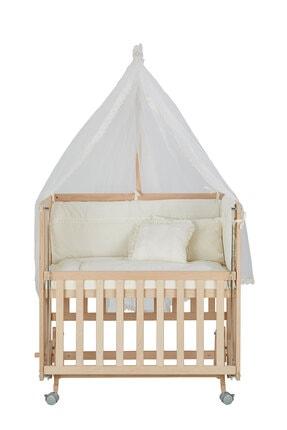 Babycom Anne Yanı Naturel Boyasız 50*90 Ahşap Beşik - Tekerlekli + Krem Uyku Seti 3