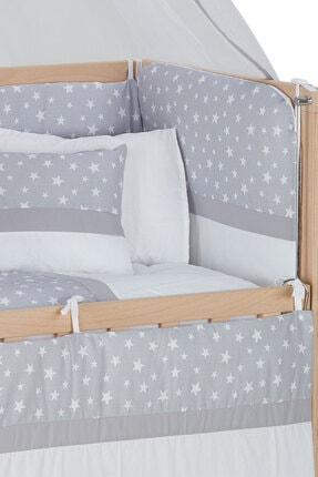 Babycom Anne Yanı Naturel Boyasız 50*90 Ahşap Beşik - Tekerlekli + Gri Yıldızlı Uyku Seti 1