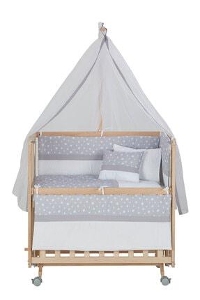 Babycom Anne Yanı Naturel Boyasız 50*90 Ahşap Beşik - Tekerlekli + Gri Yıldızlı Uyku Seti 2