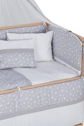 Babycom Doğal Ahşap Boyasız Anne Yanı Tekerlekli Beşik 60x120 4 Kademeli + Gri Yıldızlı Uyku Seti 4