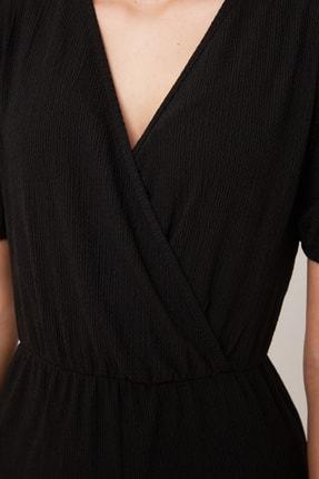 TRENDYOLMİLLA Siyah Asimetrik Yaka Örme Elbise TWOSS21EL0377 4