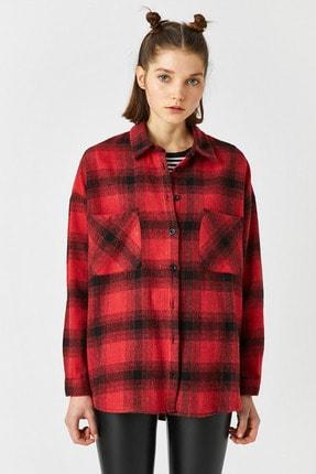 Koton Kadın Kırmızı Ekoseli Gömlek 1KAL68239IW 2