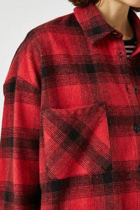 Koton Kadın Kırmızı Ekoseli Gömlek 1KAL68239IW 4