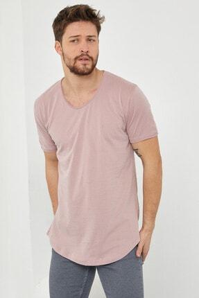 Tarz Cool Erkek Koyu Pudra Pis Yaka Salaş T-shirt-tcps001r58s 3