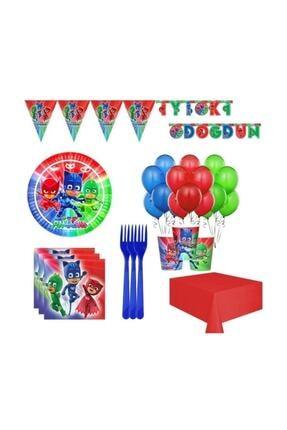 İzmir Partystore Pijamaskeliler 8 Kişilik Doğum Günü Seti 0