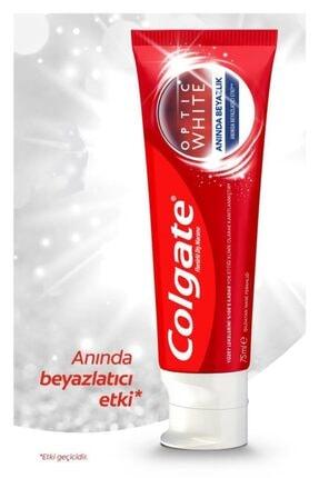 Colgate Optic White Anında Beyazlık Beyazlatıcı Diş Macunu 4 X 75 ml + Diş Fırçası Kabı Hediye 1