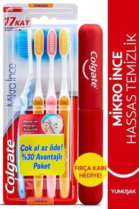 Colgate Mikro Ince Hassas Temizlik Yumuşak Diş Fırçası 4'lü + Diş Fırçası Kabı Hediye 0