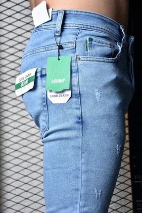 Lose Jeans Erkek Buz Mavi Skinny Fit Likralı Bilek Boy Jean 1