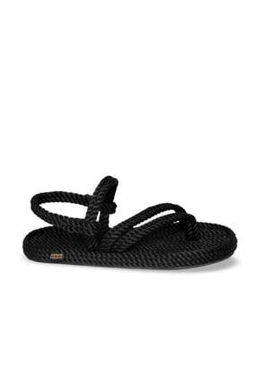 Nomadic Republic Cancun Kauçuk Tabanlı Kadın Halat Sandalet Siyah 2