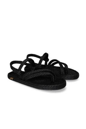 Nomadic Republic Cancun Kauçuk Tabanlı Kadın Halat Sandalet Siyah 3
