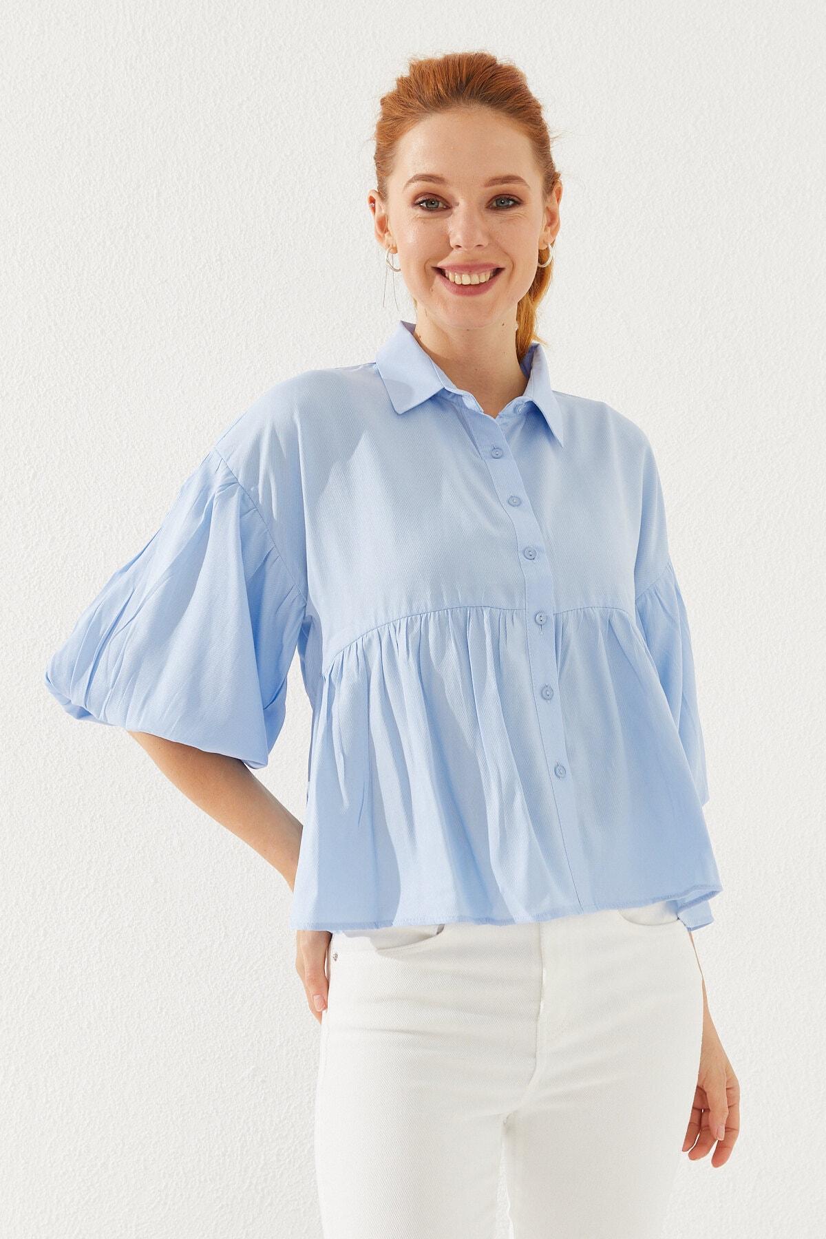 Kadın Balon Kol Gömlek Mavi