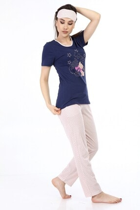 ModaPijama Manolya Kadın Lacivert Pamuklu Puantiyeli Kısa Kollu Pijama Takımı 1
