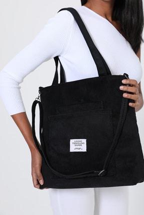 ModaAhsa Siyah Kadın Omuz Çantası Kumaş Astarlı 0
