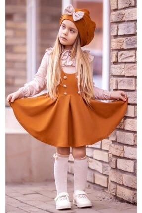 Riccotarz Kız Çocuk Beret Şapkalı Kiremit 4'lü Salopet Takım 3