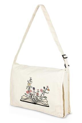 Çınar Bez Çanta Kanvas Postacı Kitap Içinde Çiçekler Bez Çanta 0