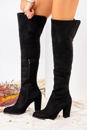 Fox Shoes Siyah Süet Kadın Çizme J674292002 1