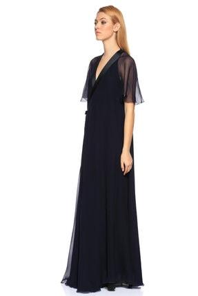 Lanvin V Yaka Uzun Lacivert Gece Elbisesi 2