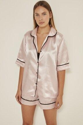 C&City Kadın  Pudra Saten Kısa Kol Şortlu Pijama Takım 040 0