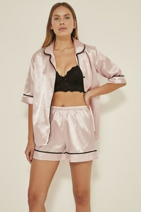 C&City Kadın  Pudra Saten Kısa Kol Şortlu Pijama Takım 040 2