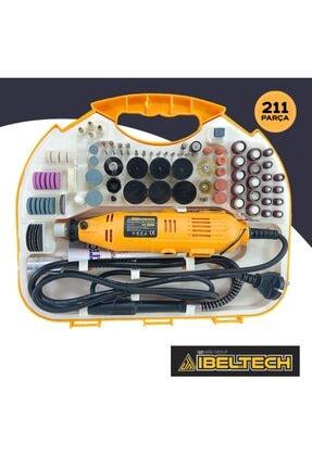 İBELTECH Pgs-2116 Kademe Devir Ayarlı Gravür Hobi Taşlama Seti Şaft Hediyeli Çantalı 211 Parça 1
