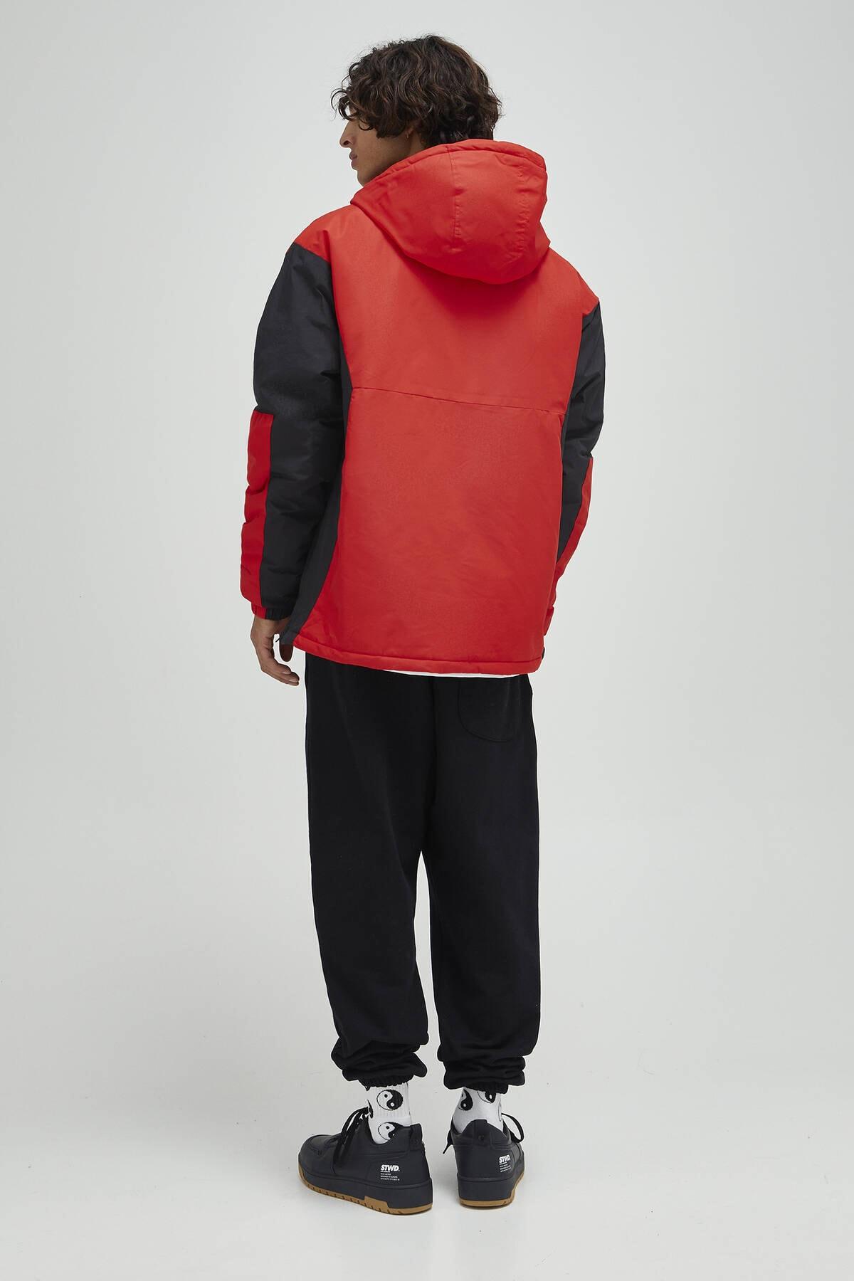 Pull & Bear Erkek Kırmızı Logolu Fermuarlı Kanguru Mont 09710526 3