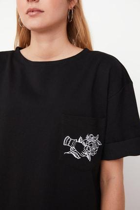 TRENDYOLMİLLA Siyah Nakışlı Örme Elbise TWOSS21EL0175 3