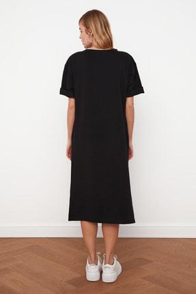 TRENDYOLMİLLA Siyah Nakışlı Örme Elbise TWOSS21EL0175 4