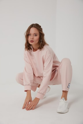 oia W-0943 Pudra Pamuklu Tunik Pantolon Takım Eşofman Takım 2
