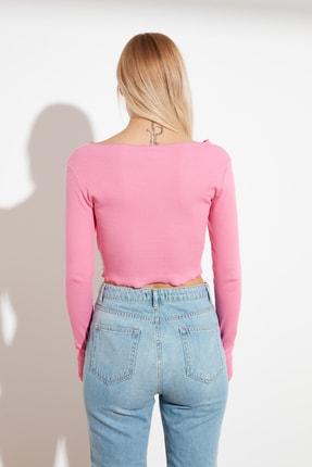 TRENDYOLMİLLA Pembe Cut Out Detaylı  Örme Bluz TWOSS21BZ0042 4