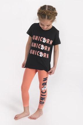 Rolypoly Kız Çocuk Kısa Kollu Uzun Tayt Takımı Sıyah 1