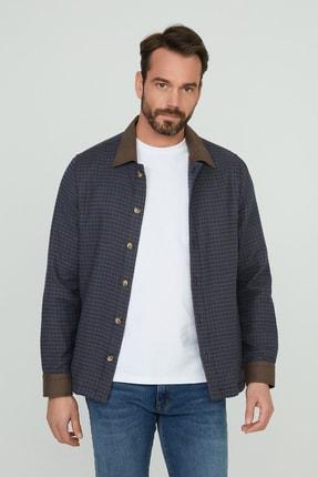 Erkek Kahverengi Mavi Ekoseli Uzun Kol Flanel Casual Gömlek Ceket Jesse BL2010053014053