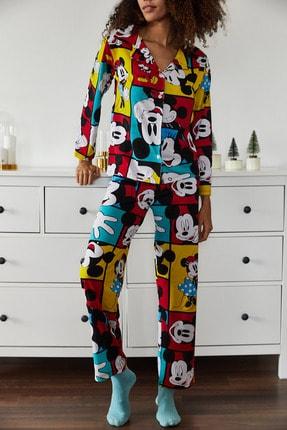 Xena Kadın Hardal Baskılı Pijama Takımı 1KZK8-10834-37 1