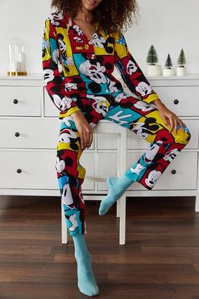 Xena Kadın Hardal Baskılı Pijama Takımı 1KZK8-10834-37 4