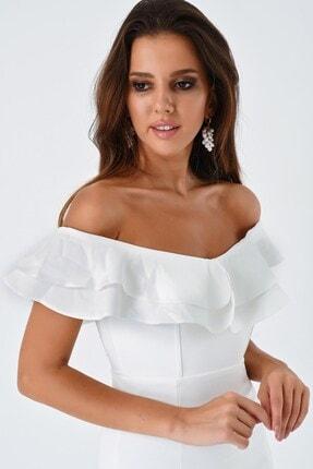 Modakapimda Fm Beyaz Volan Detaylı Yırtmaçlı Abiye Elbise 4